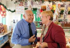 Former Volpi President, Armando Pasetti, with Lidia Bastianich in the Volpi Foods retail store.