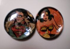 Comic book fridge magnets, DC comic book, Wonder woman magnet, Superman fridge magnet. Retro magnet, geek, nerd. His and hers couples gift.