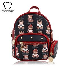 90f4101a00b1 New bear Printing Backpack High Quality PU Leather Women s bags Mini College  Wind School Book Shoulder Bag for Girls