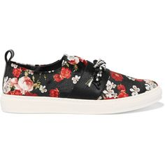 Mother of Pearl Charlie embellished printed velvet slip-on sneakers (1.125 DKK) ❤ liked on Polyvore featuring shoes, sneakers, flats, black, slip-on sneakers, black sneakers, black flats, black shoes and velvet flats