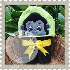 Gorilla hooded towel embroidery design.  Applique sewing project idea.