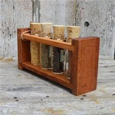 Reclaimed Wood Spice Rack with Mulled Apple Cider