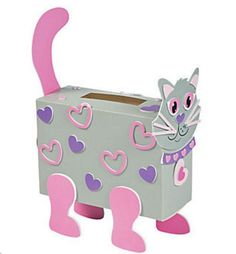 Valentine Classroom Sharing Cat Card Holder Box Craft Kit A great addition to Valentine& Day crafts, these cat card holders have bright pink whiskers, eyes and Unique Valentine Box Ideas, Valentine Boxes For School, Valentines For Kids, Valentine Day Crafts, Printable Valentine, Homemade Valentines, Valentine Wreath, Valentine Party, Holiday Crafts