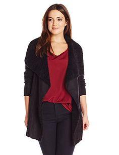 ec6a8278889 Derek Heart Junior s Plus-Size Long Sleeve Mixed Stitch Open Front Sweater