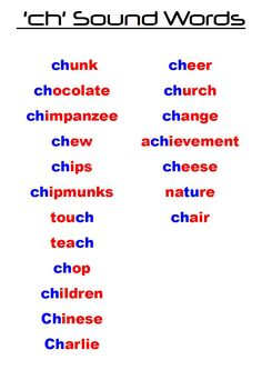 words with ch sound - Google Search | Sound Games | Pinterest