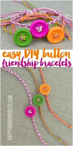 Easy DIY Button Friendship Bracelets | in 10 minutes or less! at www.happyhourproj...