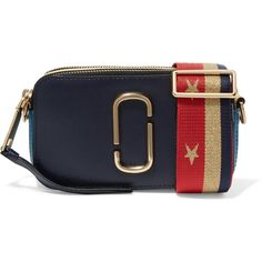 Marc Jacobs Snapshot color-block textured-leather shoulder bag (1,265 MYR) ❤ liked on Polyvore featuring bags, handbags, shoulder bags, navy, stripe purse, navy shoulder bag, mini shoulder bag, marc jacobs purse and navy purse