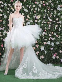 2018 Wedding Dress A-line Sweetheart Asymmetrical Ivory Appliques Wedding Dress # VB1194