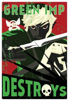 The Green Imp Destroys 15 x 22.  via Etsy.
