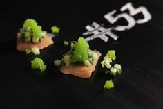 Salmon with Cucumber, Dill & Wasabi Pearls | http://delicioustapas.blogspot.se/2013/01/salmon-with-cucumber-dill-wasabi-pearls.html