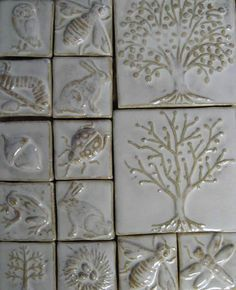 fireplace tile ideas - Still waiting for fall to really set in? Not to worry--these eye-catching fireplace tile ideas are ready to take on any season. Ceramic Wall Art, Ceramic Birds, Ceramic Clay, Tile Art, Ceramic Pottery, Mosaic Tile Fireplace, Fireplace Tile Surround, Fireplace Facing, Fireplace Outdoor