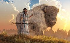 Digital Art - Búfalo Blanco Mujer por Daniel Eskridge Native American Women, American Indians, Plains Indians, Buffalo, Nativity, Sioux Nation, Bison, Pocahontas, Calves