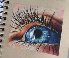 Cool Art Drawings, Pencil Art Drawings, Colorful Drawings, Beautiful Pencil Drawings, Amazing Drawings, Colored Pencil Artwork, Color Pencil Art, Drawings With Colored Pencils, Realistic Eye Drawing