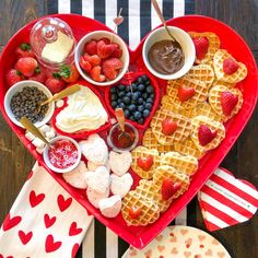 Celebrate Valentine's Day (or Galentine's Day) with a heart shaped waffle board for brunch! We found the perfect heart-shaped waffle maker too. Valentines Day Food, Valentines Breakfast, Valentine Desserts, Charcuterie Recipes, Charcuterie And Cheese Board, Party Food Platters, Love Food, Holiday Recipes, Tapas