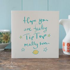 Get Well Soon Card  hope you are feeling tip top by GabriellasShop