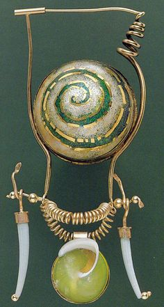 PAGAN BABY #1: GREEN SPIRAL   1977   William Harper Gold cloisonne enamel on fine silver; 14 and 18 kt gold; shells collection:  Dallas Museum of Art