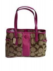 Coach Signature Stripe Carry-All Handbag Khaki and Mulberry Pink