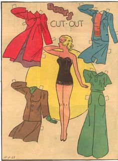 A great selection of paper doll fashions from 1939. #vintage #1930s #paper #doll #paperdoll #fashion #clothing
