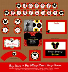Boy Red & Yellow Mickey Mouse Birthday Party Package by Honeyprint, $30.00