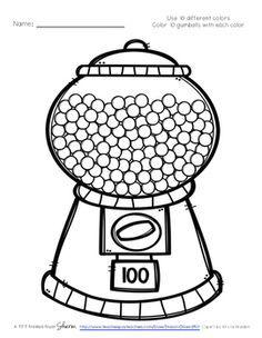 100 Day Gum Balls-great for practice 100 times too! Color 100 Gum Balls for 100 Days of School 100th Day Of School Crafts, 100 Day Of School Project, 100 Days Of School, School Fun, School Projects, Kindergarten Classroom, Kindergarten Activities, Preschool, School Cupcakes