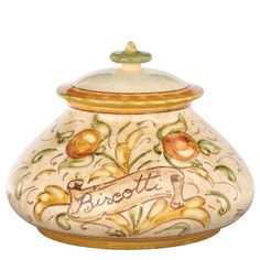 An absolutely gorgeous biscotti jar from Vietri