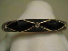 Un Worn Clamper Bracelet Rhinestones Black Enamel Gold Tone