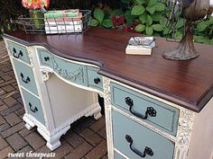 Antique White and Persian Blue Two-Toned Desk | General Finishes