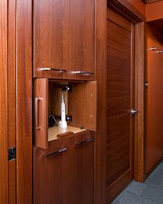 Bathroom linen closet with appliance garage