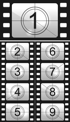 Find Film Countdown Numbers Vector Illustration stock images in HD and millions of other royalty-free stock photos, illustrations and vectors in the Shutterstock collection. Deco Cinema, Cinema Party, Theme Cinema, Kino Party, Tarjetas Diy, Movie Night Party, Film Reels, Hollywood Theme, Movie Themes
