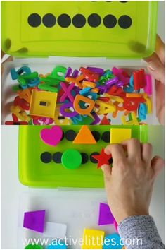 This diy preschool learning activities box is so much fun and a wonderful learning experience you can try at home for kids! Learn about shapes, colors, numbers and the alphabet with this one little learning box! Preschool Learning Activities, Color Activities, Toddler Learning, Preschool Classroom, Creative Activities, Sensory Activities, Infant Activities, Educational Activities, Early Learning