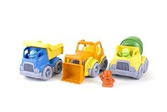 Green Toys Construction Vehicle (3 Pack) - Scoop it! mix it! dump it! just another earth-moving, earth-saving day at the job site for the green toys construction trucks. chunky, sturdy, and durable, the fleet features 1 scooper with a moveable front-loader, 1 mixer with a revolving drum, and 1 Dumper with a classic open-box bed. Each vehi...