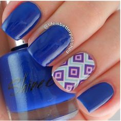 credit: lifeisbetterpolished #nailart blue nails with accent