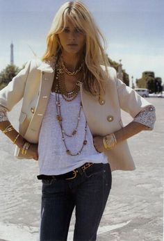 in love with this jacket with the gold accessories