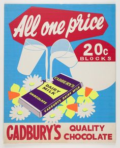 Old Cadbury's Advertisment. Beryl's Chocolate, Images Of Chocolate, Cadbury Dairy Milk Chocolate, Chocolate Heaven, Advertising Signs, Vintage Advertisements, Australian Vintage, Candy Companies, Vintage Candy