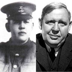 Charles Laughton-WW1-served with 21st battalion of the Huntingdonshire cyclist regiment and 7th battalion of Northamptonshire regiment. He was gassed during the war. (Actor)