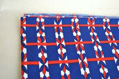 Vintage red navy cotton fabric with geometric ornament print, cotton fabric for craft projects by Klaptik on Etsy