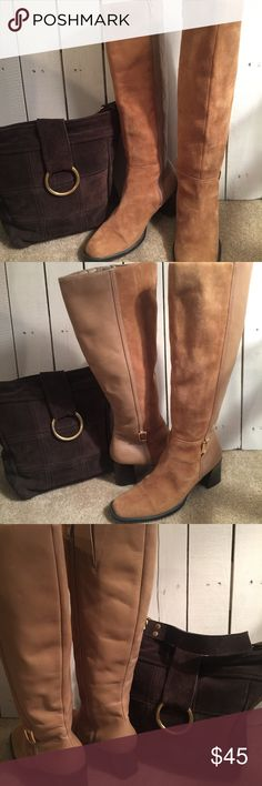 Karen Scott Suede Boots What a great pair of boots. Half Suede half leather. A beautiful camel color with a chocolate brown sole and heel. Karen Scott Shoes Heeled Boots