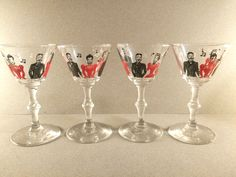 Set of Four Mid Century Red and Black Martini Glasses with Men and Women Singing. Vintage Barware. Collectible Glassware.  Cocktail glasses by VintageQuinnGifts on Etsy https://www.etsy.com/listing/233657275/set-of-four-mid-century-red-and-black