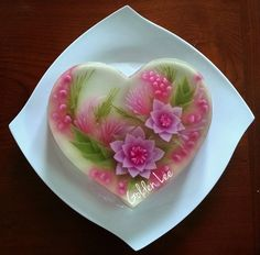 Puding Art, Mousse, 3d Jelly Cake, Jelly Flower, Jello Desserts, Beautiful Desserts, 3d Cakes, Appetisers, Cake Art