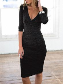 midi dress, black dress, v neck dress, half sleeve dress - Lyfie