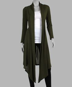 California Trading Group Olive Open Duster 0154d9c79