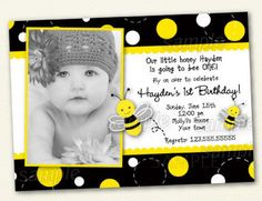 Bumble Bee Birthday Invitations by LollipopPrints on Etsy, $10.00