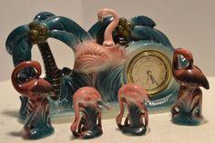 Sarsaparilla Collectible Clock Flamingo Theme Bonus Salt and Pepper Shakers | eBay