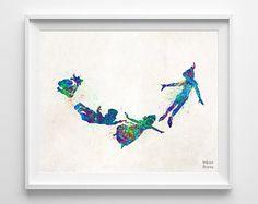 Peter Pan imprimer Disney Art aquarelle affiche par InkistPrints