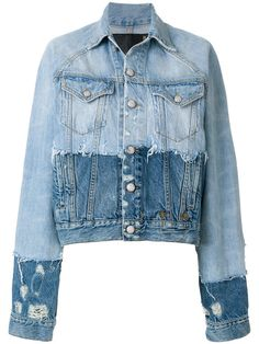 acc4011d50976 R13 contrast distressed denim jacket MIXING CUT AND SEWN WITH KNIT R13 Denim