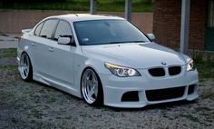 BMW E60 5 series white slammed