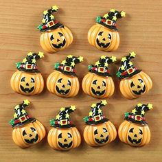 Lot 10pcs the New Halloween Pumpkin with Star Hat for Party Resin Cabochon Flatbacks Flat Back Hair Bow Center Craft Making DIY