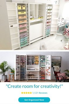 Create Room for Creativity in your life. Find out whether or not this big craft cabinet is worth $3000 Shabby Chic Style, Shabby Chic Decor, Pastel Decor, Room Essentials, Space Crafts, Craft Storage, Getting Organized, Own Home, Home Office