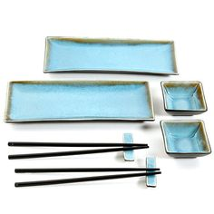 The Amalfi sushi set is a homage to traditional beauty and modern convenience while showcasing the perfect harmony of ease of use for the novice in Asian cuisine with sophistication and style of form click the image for more details. Ceramic Tableware, Ceramic Clay, Ceramic Pottery, Turquoise Bedding, Sushi Dishes, Crochet Bedspread Pattern, Sushi Plate, Sushi Set, Ceramics Projects