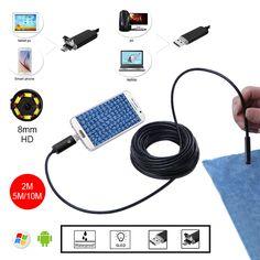 8 미리메터 HD 2 메터 5 메터 10 메터 황금 USB 안드로이드 내시경 검사 튜브 뱀 미니 Endoscopio 카메라 OTG IP67 방수 안드로이드 Endoskop
